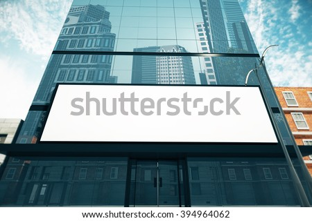 Blank billboard on glassy wall of business center, mock up, 3D Render - stock photo