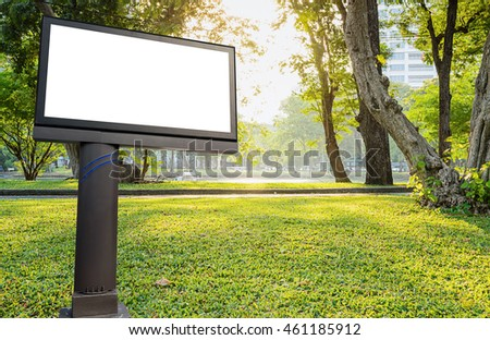 Ordinaire Blank Billboard On Green Garden In Park Background With Copy Space For Your  Advertisement