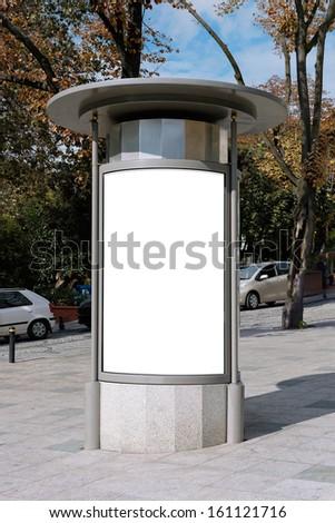 Blank billboard on street, Istanbul, TURKEY - stock photo