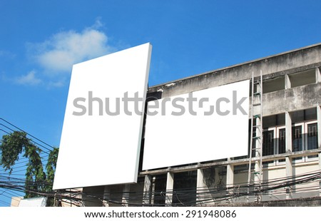 Blank billboard on the building.