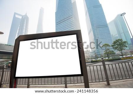 Blank billboard on the bus stop,shanghai,China - stock photo