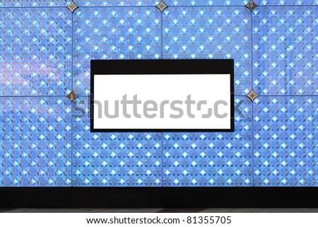 Blank billboard on wall and lighting background - stock photo