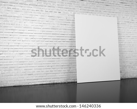 blank billboard over white brick wall - stock photo