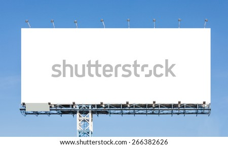 Blank billboard ready for new advertisement against with blue sky background - stock photo