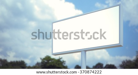 Blank billboard sign in forest and blue sky. Wide, blurred background. 3d render - stock photo