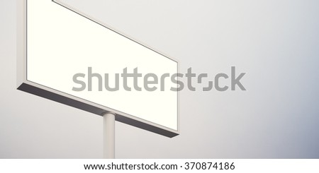 Blank billboard sign in sunrise sky. Wide, abstract background. 3d render - stock photo