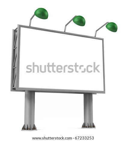 Blank billboard sign ready to be customized. Isolated on white. - stock photo