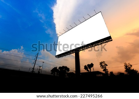 Blank billboard silhoutte at sunset for advertisement - stock photo