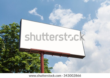 Blank Billboard Template with clipping path - stock photo