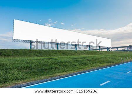 Blank billboard with blue sky ready for new advertisement