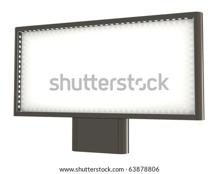 Blank billboard, with lights, clipping path included, 3d illustration, isolated on white - stock photo
