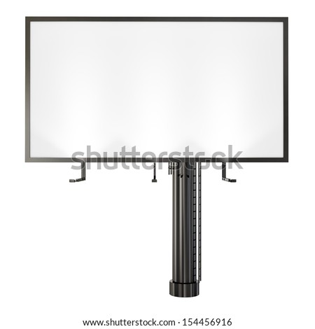 blank billboard with reflector spotlight isolated on white background - stock photo