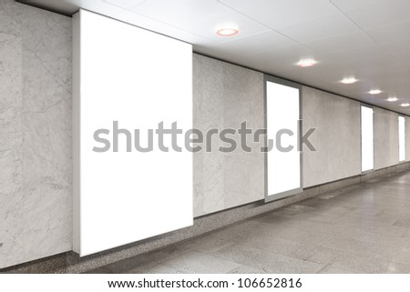Blank billboards located in underground hall useful for your advertising - stock photo