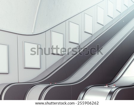 Blank billboards on the wall with escalator. 3d rendering - stock photo