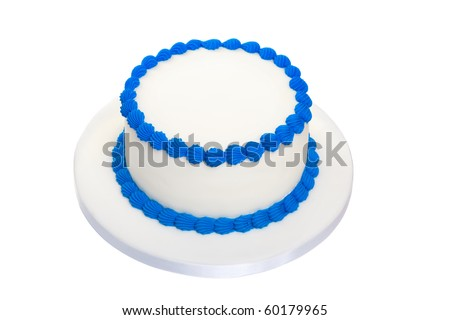 Blank birthday cake - stock photo
