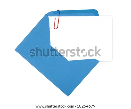 Blank birthday invitation card with blue envelope and red paperclip, copy space