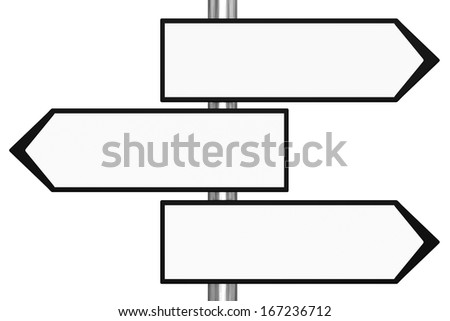 Three Blank Sign Way White Stock Photos Images