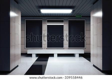 Blank black billboard in underground passage 3D Render - stock photo