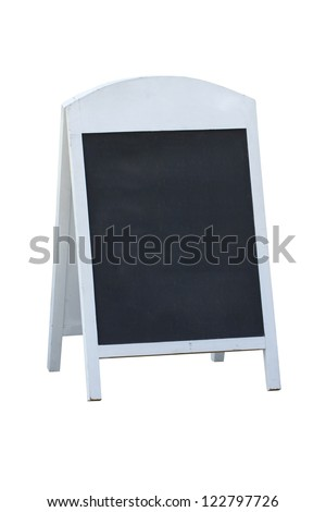 Blank black board stand sign isolated on white background. - stock photo