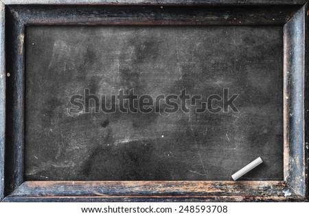 Blank Black Chalkboard With Dark Wood Frame Of Slate Board And White Chalk.