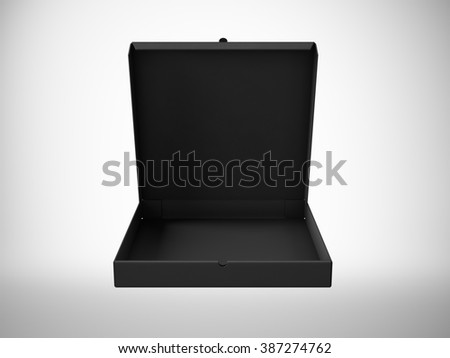 Blank black open pizza paper box isolated on white background. Horizontal mock up. 3d render - stock photo