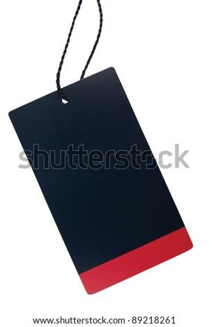 Blank Black Red Stripe Cardboard Sale Tag Empty Price Label Stripe Badge, Isolated Closeup Macro - stock photo