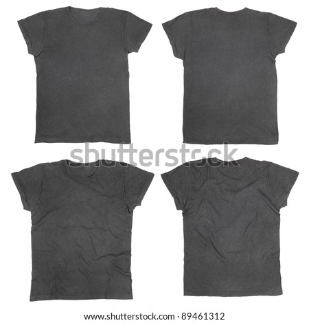 Blank black t-shirts front and back, ironed and wrinkled isolated on white, clipping path included - stock photo