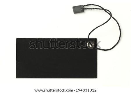 Blank Black Tag on White background - stock photo