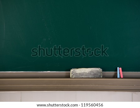 Blank blackboard with chalk and eraser. - stock photo