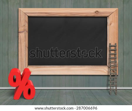Blank blackboard with red percentage sign and wood ladder, on wooden wall and floor indoors background.