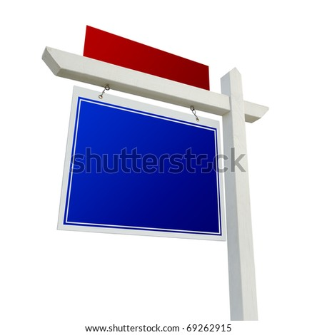 Blank Blue and Red Real Estate Sign Isolated on a White Background.