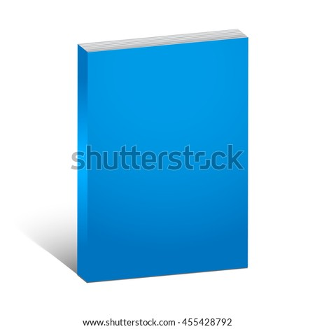 Blank blue book cover template over white background