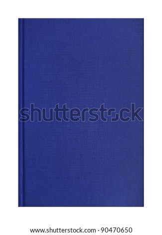Blank blue book with linen texture - stock photo