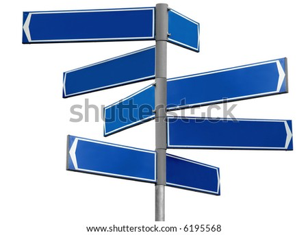 Blank blue direction sign with 8 arrows (add your text) isolated on white - stock photo