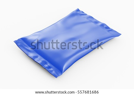 Blank blue foil snack pillow bag on white background. Isolated include clipping path. 3d render