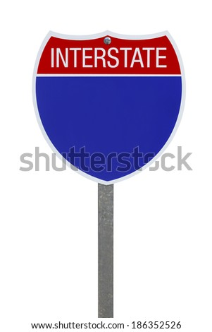 Blank Blue Interstate Highway Sign Isolated on White Background. - stock photo