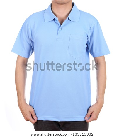 blank blue polo shirt (front side) on man isolated on white background - stock photo