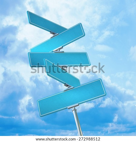 Direction Road Signs Arrows On Blue Stock Vector 96572545 ...