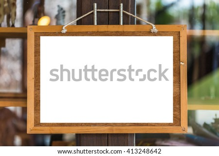 blank board / bulletin board with a wooden frame - stock photo