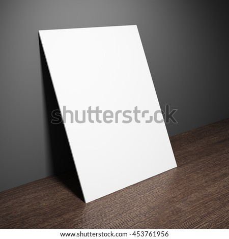 Blank board on wooden table. 3D illustration.