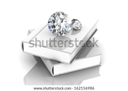 Blank book and diamond  (high resolution 3D image) - stock photo