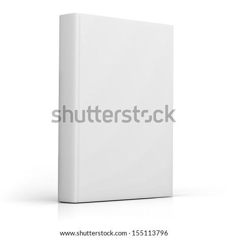 Blank book cover over white background with reflection - stock photo