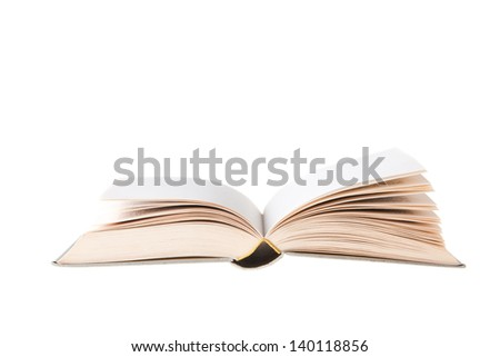 Blank Book open and isolated on white background