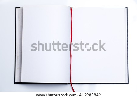 Blank book open with white pages with copyspace - stock photo