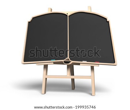 Blank book shape blackboard on easel isolated in white background - stock photo