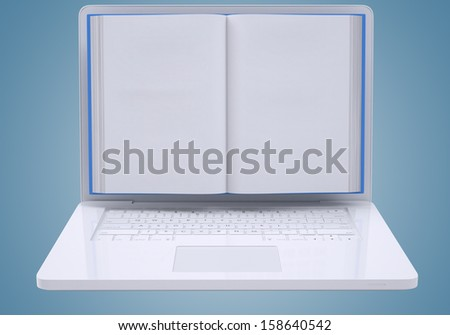 Blank book to screen laptop. The concept of media technologies. Isolated render on a blue background