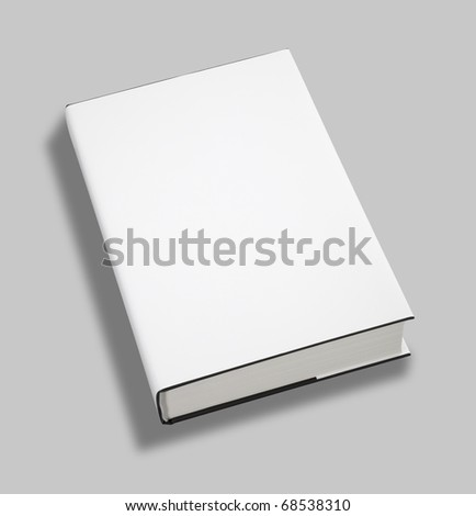 Blank book white cover w clipping path - stock photo