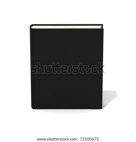 Blank book with black cover on white background. - stock photo