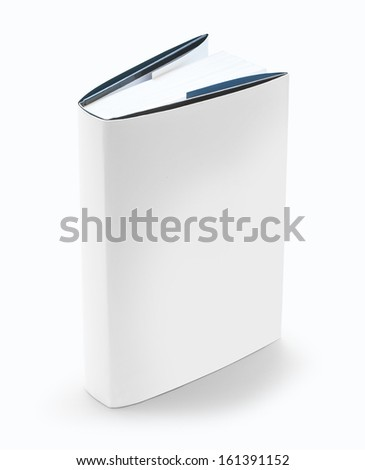 Blank book with white cover on white background - stock photo