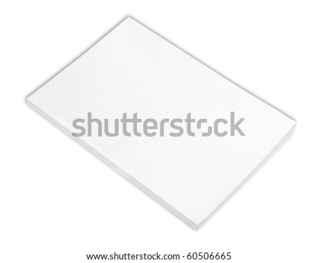Blank book with white cover on white background. - stock photo